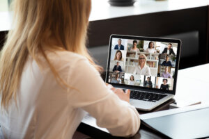 Woman at a virtual meeting or conference