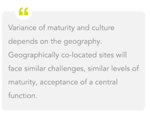 Variance of maturity and culture depends on the geography. Geographically co-located sites will face similar challenges, similar levels of maturity, acceptance of a central function.