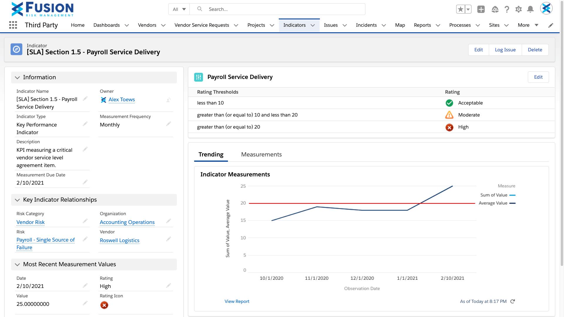 Screenshot of Continuous Monitoring
