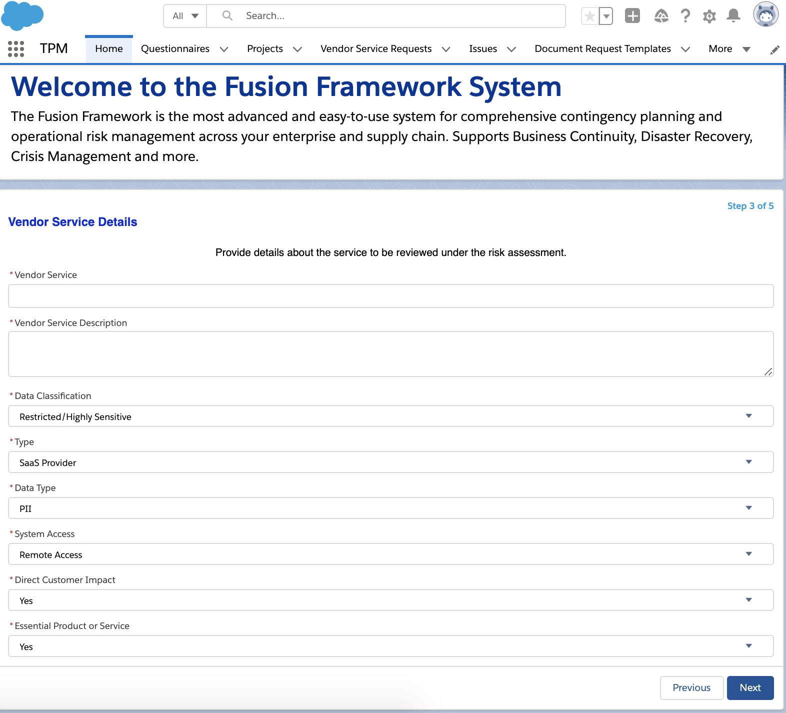 Screenshot of vendor service details